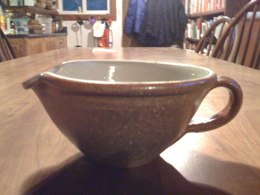 Small Mixing Bowl with Handle-Woodfire Vapor Glaze--SOLD!