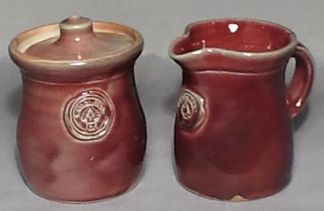 Cornwall Commemorative Sugar Pot and Creamer Set-RED