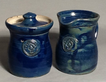 Cornwall Commemorative Sugar Pot and Creamer Set-Navy Blue