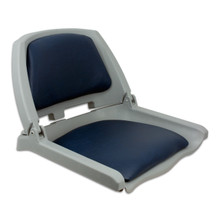 Traveler Fold Down Seat Gray with Blue Cushions