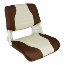 Skipper Fold Down Deluxe Chair with Cushions Brown & Off White