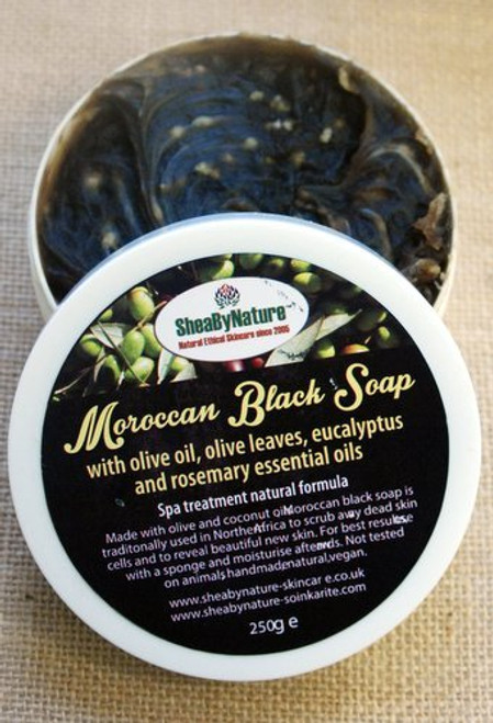 SheaByNaTure MOROCCAN Black Soap. 100% Pure and Natural Soap Made from Olive Oil, coconut oil and Olive Leaves, using traditional Moroccan Method with Eucalyptus and Rosemary essential oil