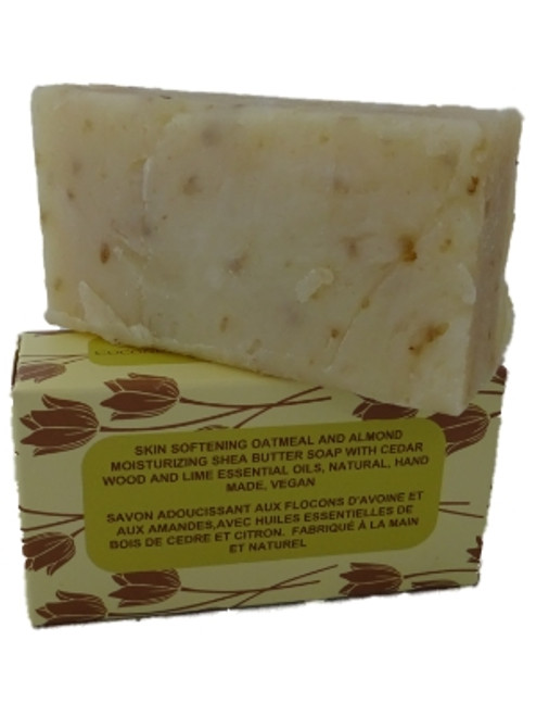 Skin Softening Oatmeal and Almond Shea Butter Soap  with Coconut and Olive Oil. Handmade Natural Soap with Cedarwood & Lime Essential Oils (115-135g)
