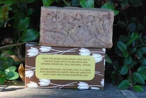 Body Polishing Skin Smoothing Shea Nut Shea Butter Soap with Coffee, Palmarosa & Orange Essential Oils