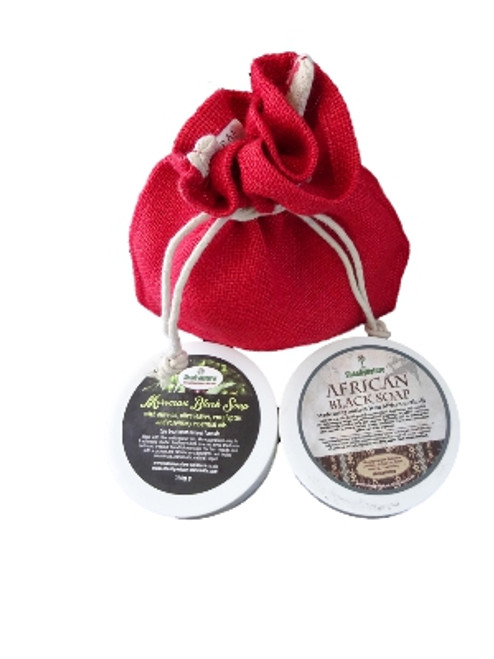 SheaByNature Natural Soap Gift set with 300ml Jar of African Black soap with Shea butter and Coconut and Moroccan Black soap with olive oil, Eucalytus and Rosemary essential oils 300ml