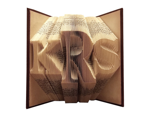 "This monogrammed folded book has the letter ""KRS"""