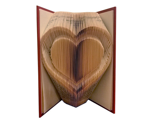 Folded book art with a double heart design