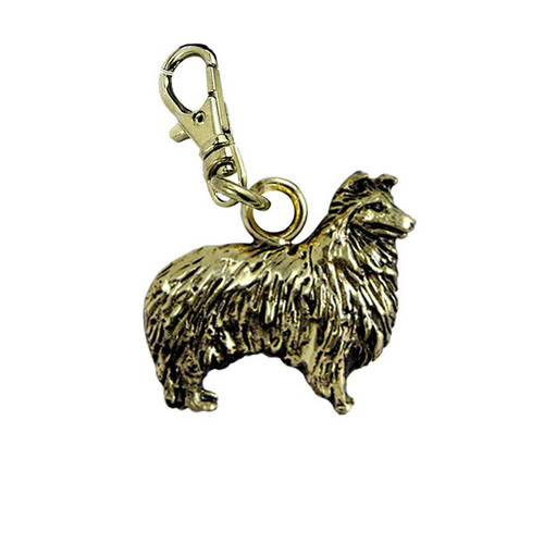 Sheltie Brass Zipper Pull