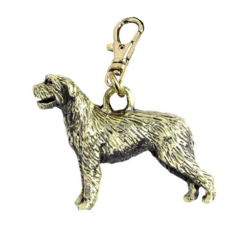Irish Wolfhound Zipper Pull Brass