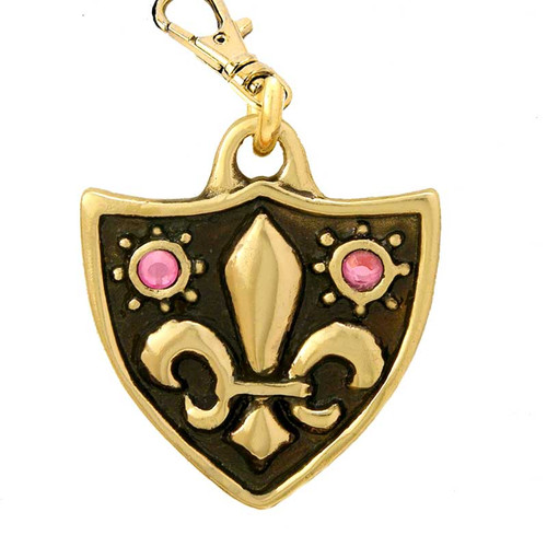 Fleur de Lys Dog Tag with Swarovski Crystals Brass