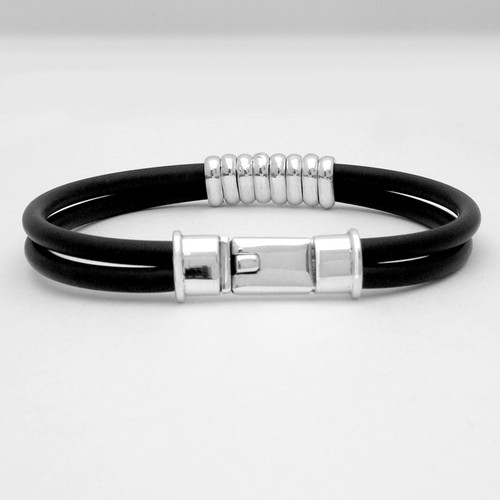 Banded Box Clasp Rubber Bracelet Mens