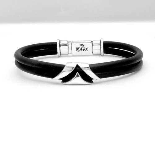 Viscount Box Clasp Mens Rubber Bracelet