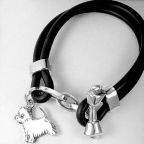 Bone Toggle Bracelet with Dog