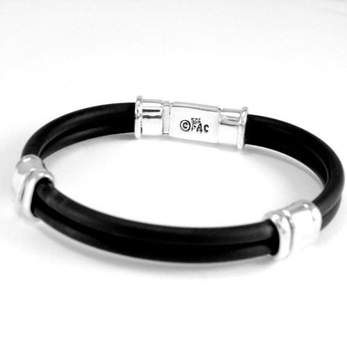 Box Clasp Mens Rubber Bracelet Fancy