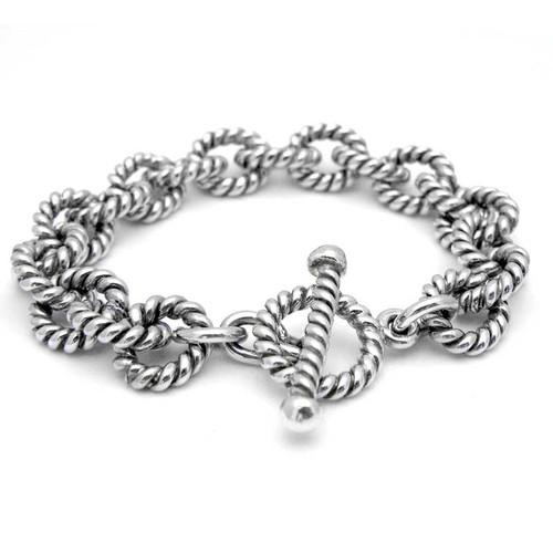 Twisted Silver Link Bracelet - Heavy