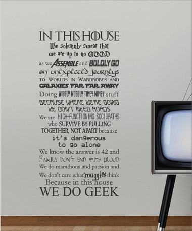 In this house we do GEEK!! Wall Art/Sticker  sc 1 st  totesamazewalls & We do Geek House Rules - totesamazewalls