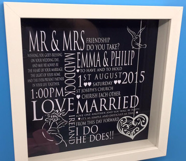 Personalised wedding frames papercut style personalised wedding gift papercut style shadow frame negle Images