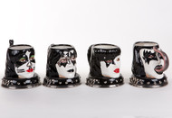KISS Ceramic Mugs - Head set of 4, (2002 Version, No Boxes)