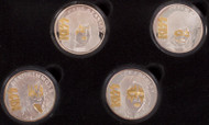 KISS Solid Silver Coins - Alive/Worldwide with gold plated details - set of 4