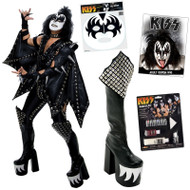 KISS Gene Demon COMPLETE ALIVE Costume with Boots, Wig, Makeup