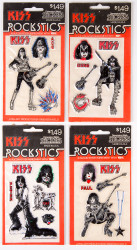 KISS Rocksticks Puffy Stickers, sealed, set of 4