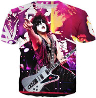 KISS T-Shirt - Paul Purple Live, (all-over print)