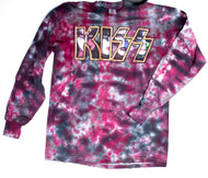 KISS T-Shirt - Faces in Logo, Tie-Dye, Long-Sleeve, size L