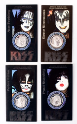 KISS Solid Silver Coins - Alive/Worldwide - set of 4 in folders, 1 Troy oz each