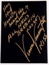 Vinnie Vincent Autograph - Black Canvas Art Board, All Hell's Breakin' Loose, (7/50, gold)