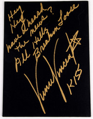 Vinnie Vincent Autograph - Black Canvas Art Board, All Hell's Breakin' Loose, (9/50, gold)