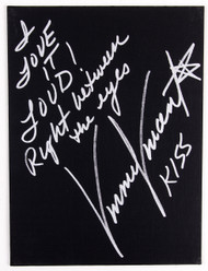 Vinnie Vincent Autograph - Black Canvas Art Board, I Love it Loud, (13/50, silver)