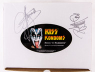 KISS Autograph - Gene Simmons  and Peter Criss on a KISS Condom Promo Box