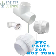 PVC parts and fittings for hot tub spa repairs.