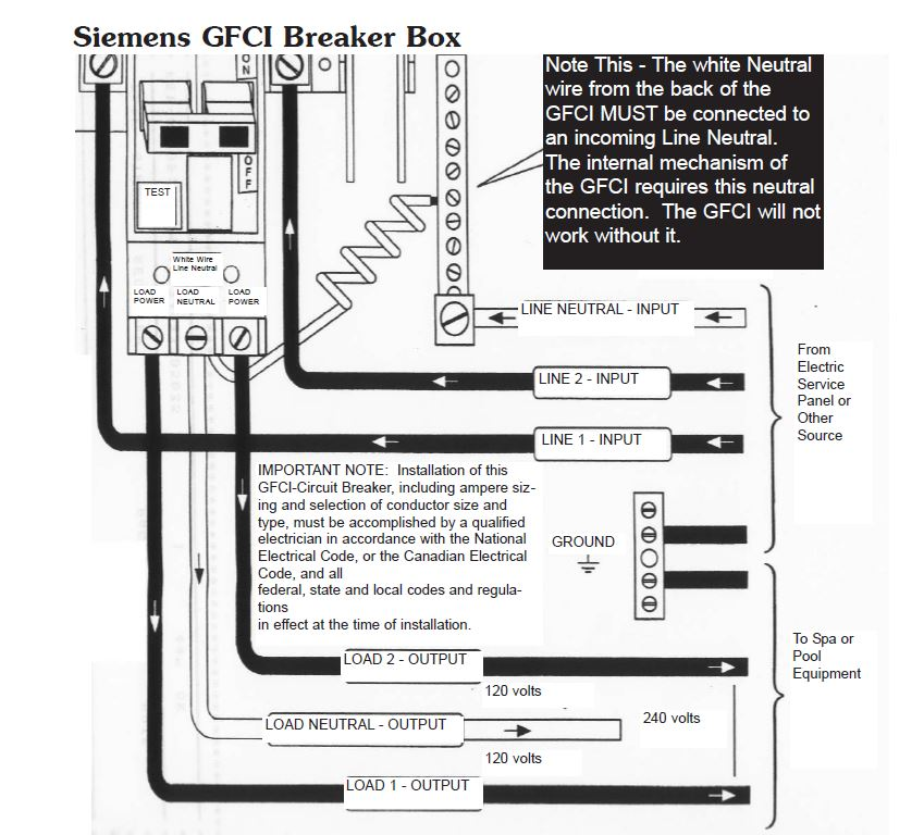 hot tub electrical installation hookup gfci rh hottuboutpost com gfi breaker wiring gfi breaker wiring instructions