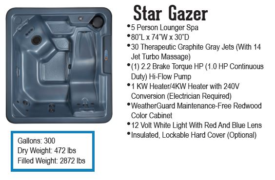 Star Gazer Qca hot tub discount price from Hot Tub Outpost