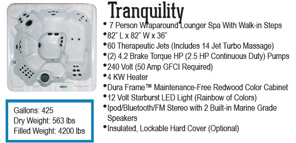 Tranquility QCA Spas hot tub with 60 jets and 2 pumps.