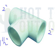 Caldera Spa Pvc Tee 2 Inch S X 2 Inch S X 1-1/2 Inch S