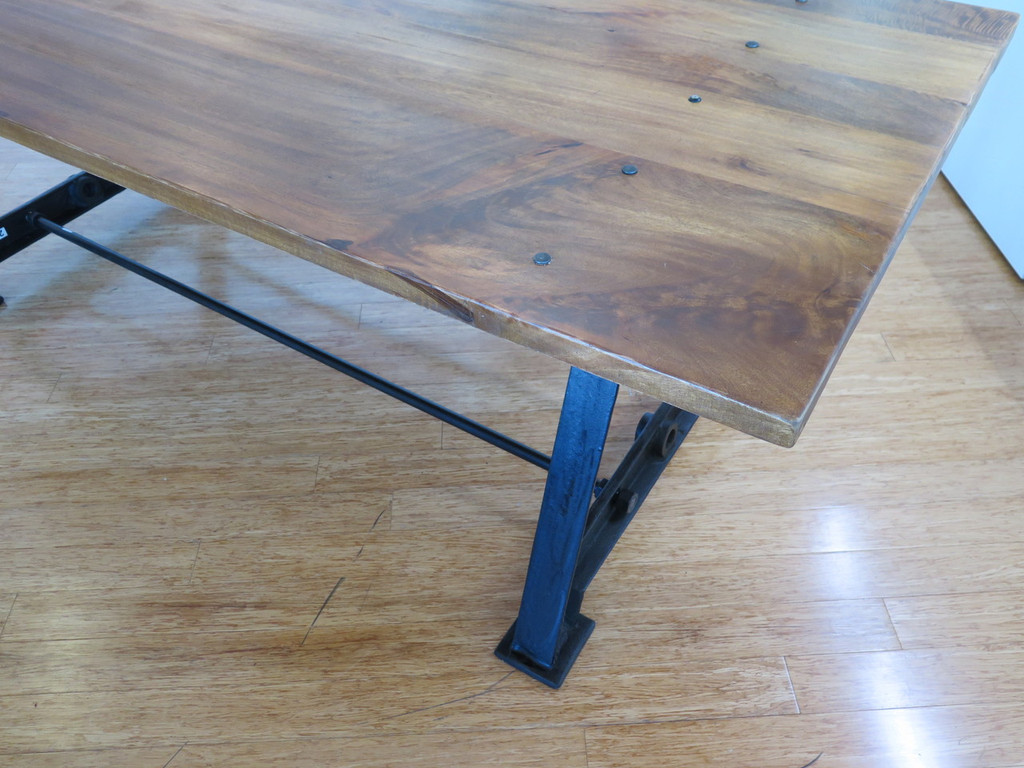 INDUSTRIAL CAST IRON BASE & SOLID TIMBER TOP TABLE / DESK - 230CM X 96CM X 76CM