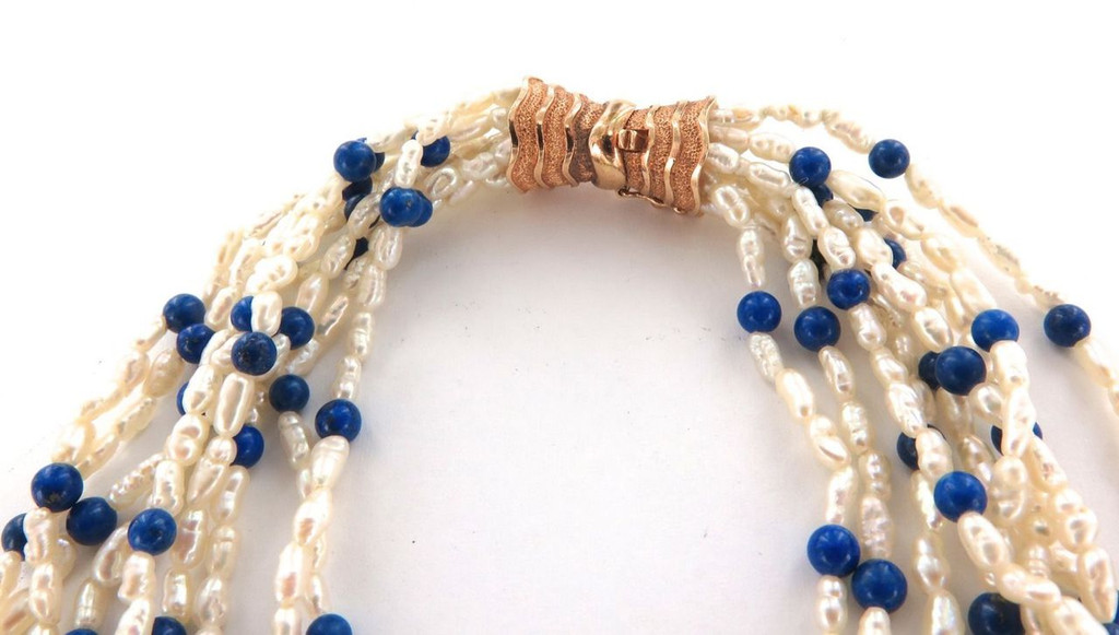 SUPERB MULTI STRAND LAPIS LAZULI & PEARL NECKLACE WITH 14CT GOLD CLASP VAL $2250
