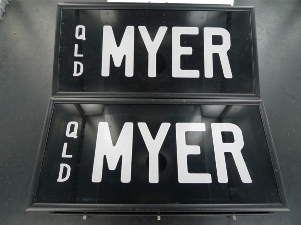 RARE QUEENSLAND REGO NUMBER PLATE  MYER  NEVER FITTED, NEAR MINT, FRONT & BACK