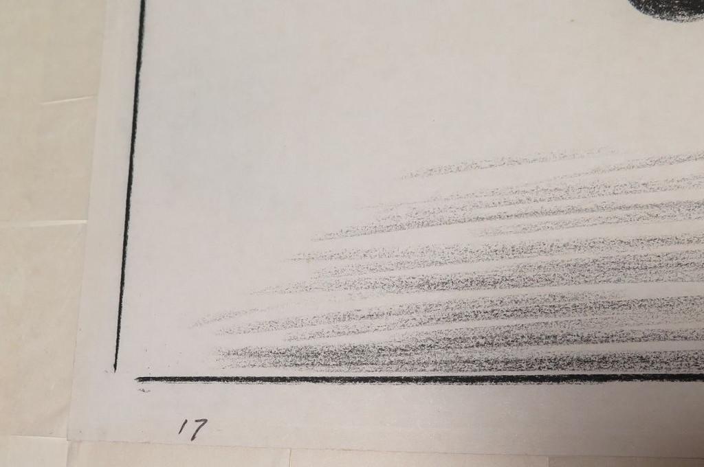 ORIGINAL CHARLES BLACKMAN CHARCOAL ON PAPER 600 X 360 c.1976