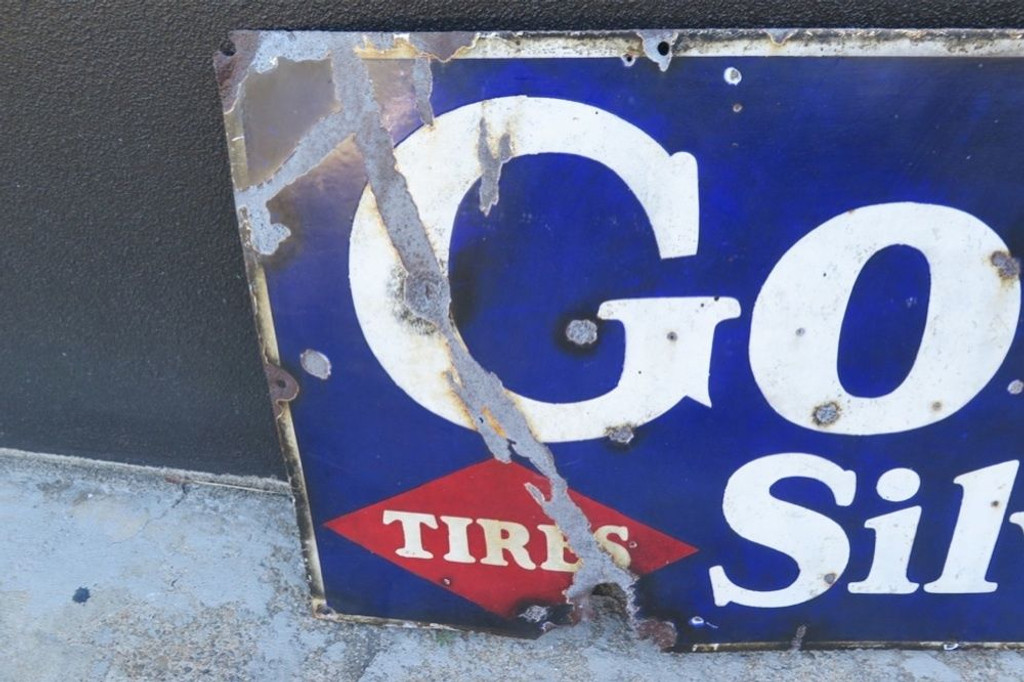 RARE 1930' / 40's LARGE AMERICAN GOODRICH TIRES TUBES GAS STATION / DEALER SIGN.