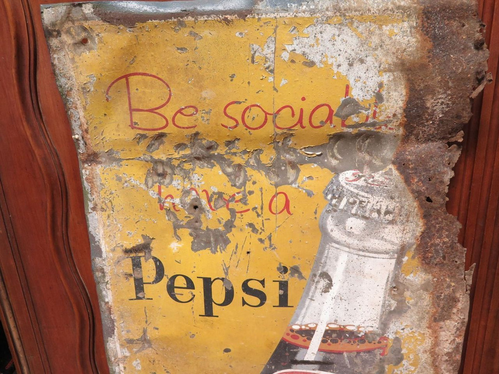 "c1930's / 40's VERY TALL PEPSI TIN SIGN. ""BE SOCIAL HAVE A PEPSI"""