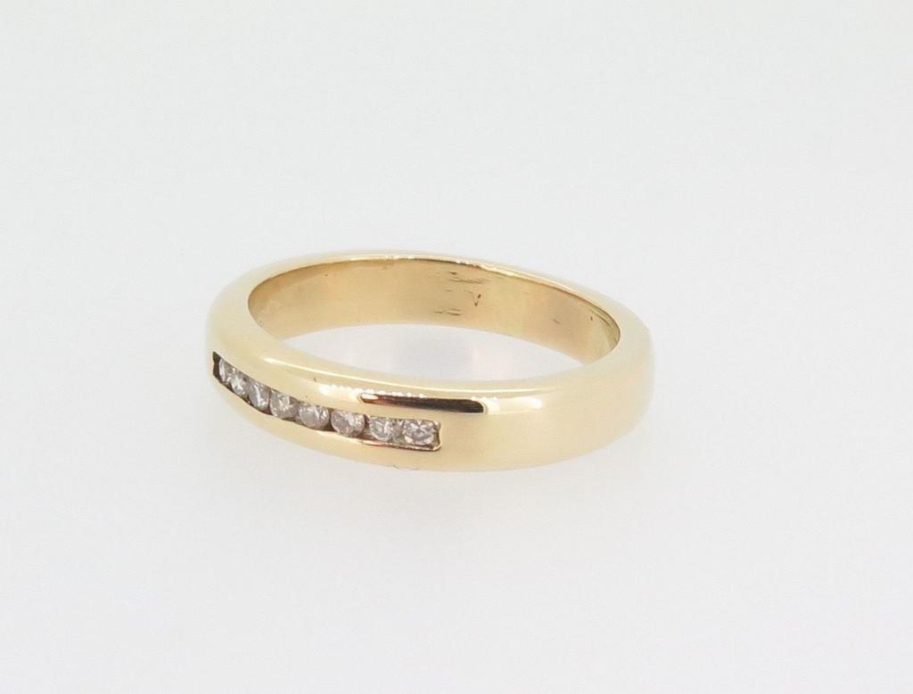 Channel set 0.12ct Diamond H SI 14k yellow gold Wedding / Dress Ring Val $1700