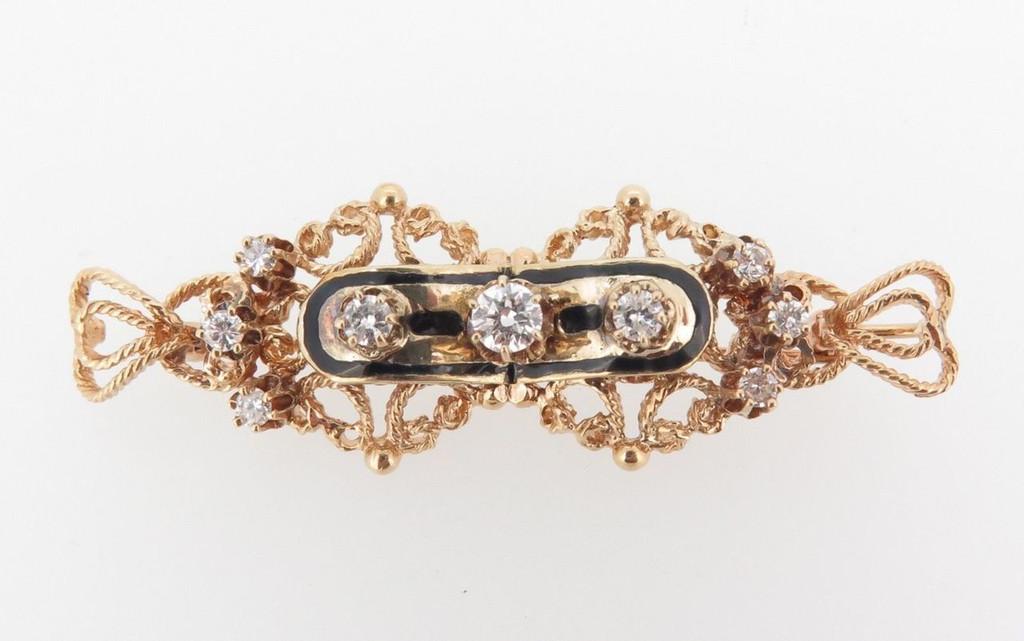 Antique style 14ct 0.54ct G SI diamond set & black enamel brooch val $3700
