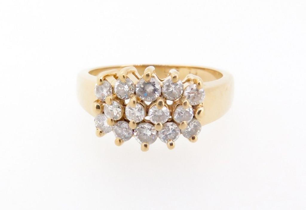 14k yellow gold Triple Row of 0.67ct diamonds set dress ring Val $2500