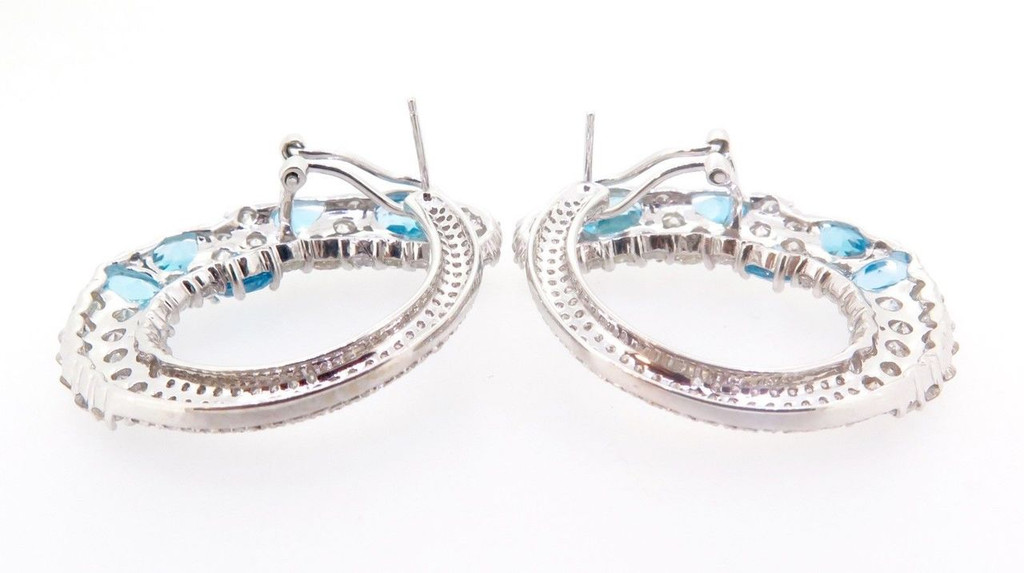 A Stunning Pair of 18k White Gold 6.48ct Diamond & Topaz Earrings Val $16500