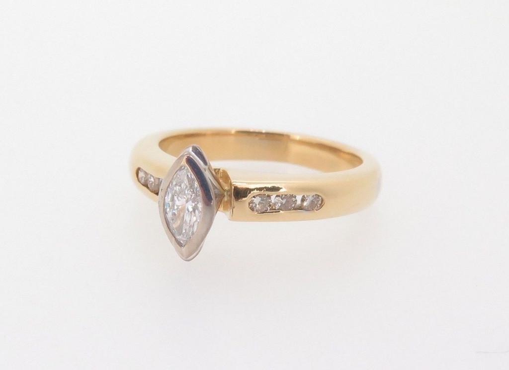 Vintage 0.32ct Diamond Set 18k Yellow Gold Ladies Ring Size H Val $3030