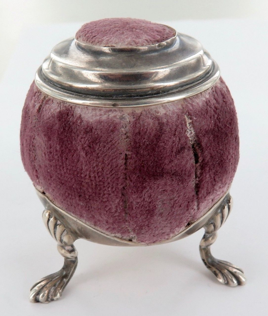 1900 delightful English sterling silver largish tri footed pin cushion