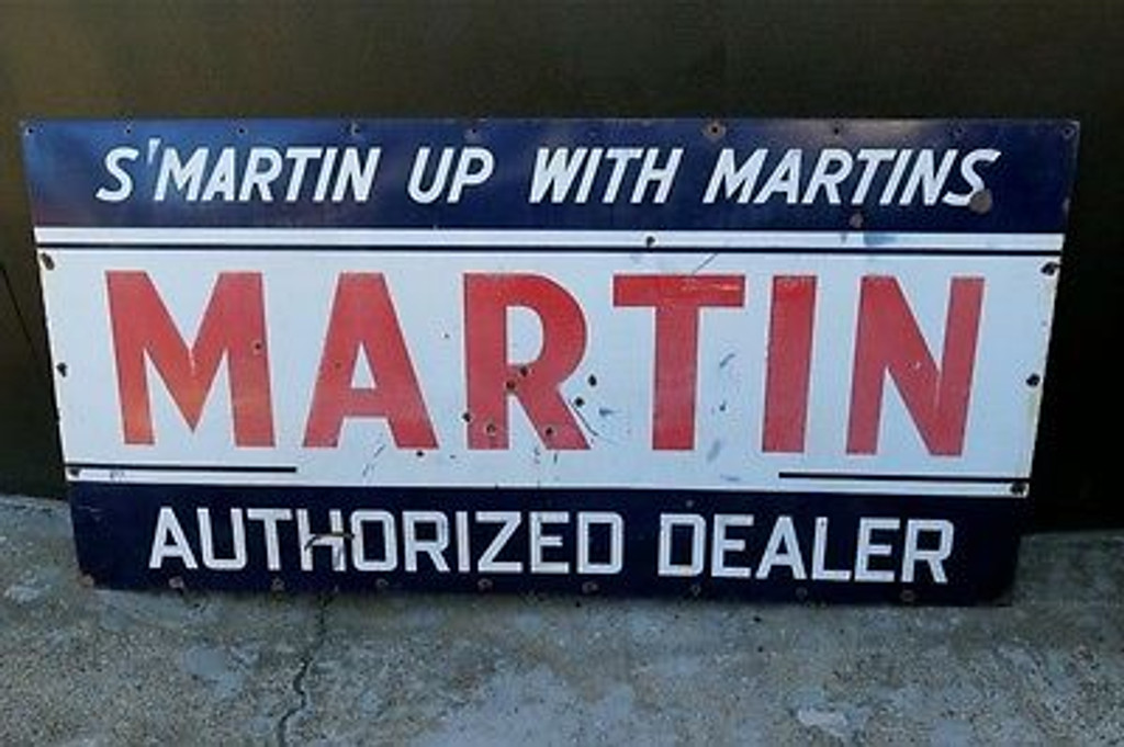 BRISBANE SIGNS BOUGHT AND SOLD HEAVY 1930s to 40s VINTAGE LARGE 6FT AMERICAN MARTIN OIL SERVICE DEALER enamel SIGN